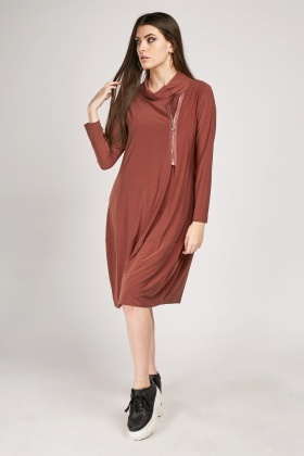 Zip Up Front Slouchy Neck Dress