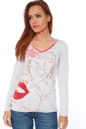 Hand Drawing Print Long Sleeves Top