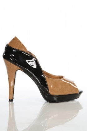 Two Tone Curved Patent PVC Shoes
