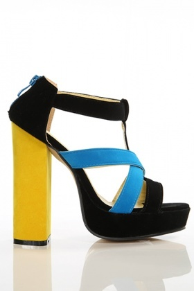 Block Heel Multicolour Suedette Sandals