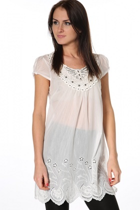 Embroidered & Embellished Sheer Tunic