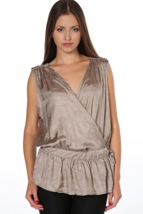 Beaded Shoulders Wrap Satin Top
