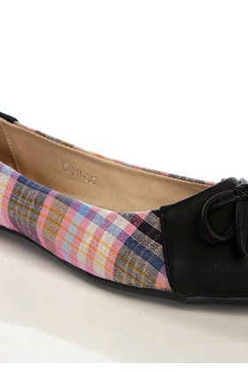 Tartan & Faux Aged Leather Flats
