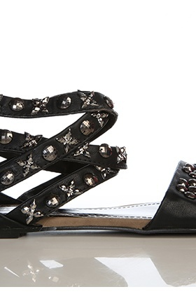 Metal Beads Embellished Crossed Strap Sandals