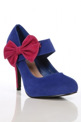 Contrast Heel & Bow Round Toe Shoes
