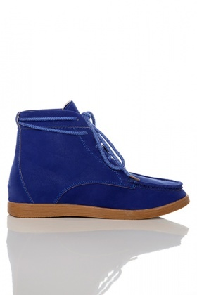 Drawstring Top Velour Moccasin Boots