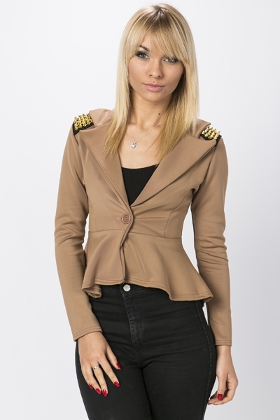 Studded Shoulder Fitted Blazer