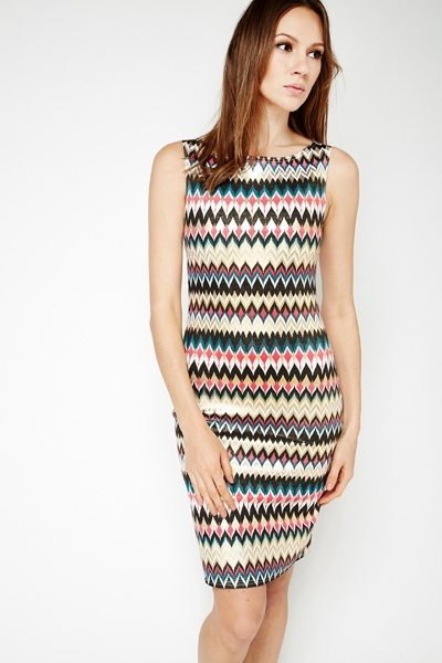Metallic Aztec Midi Dress