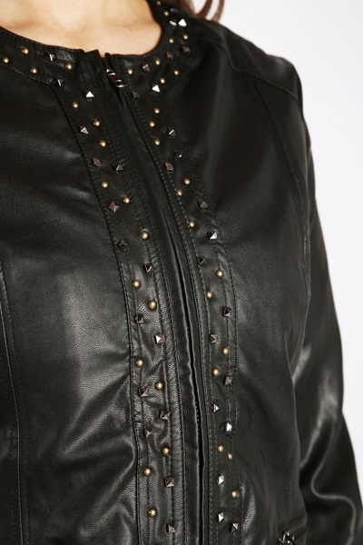 Studded Trim Faux Leather Jacket