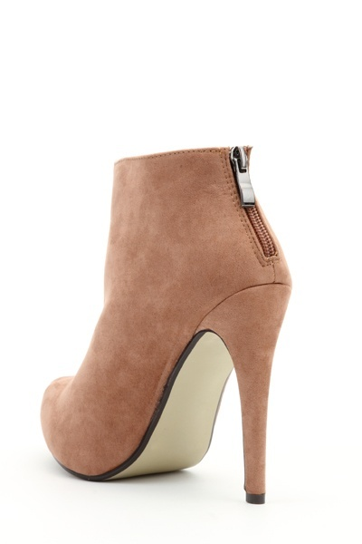 Zip Back Camel Ankle Boots