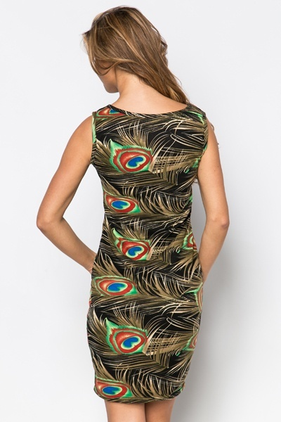 Mesh Insert Peacock Feather Dress