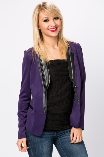 Zipped & Pu Trim Blazer Jacket