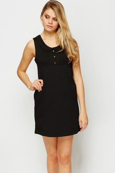 Peter Pan Collar Black Dress