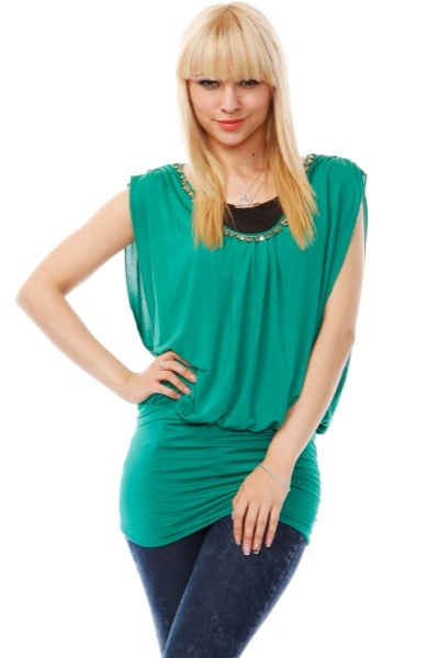 Golden Beads Embellished Neckline 2-In-1 Top