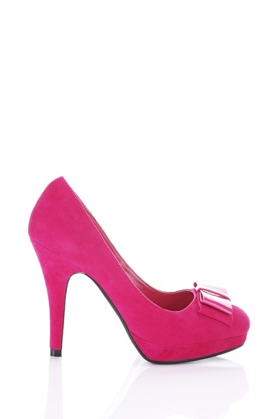 Patent & Suedette Double Bow Toe Shoes
