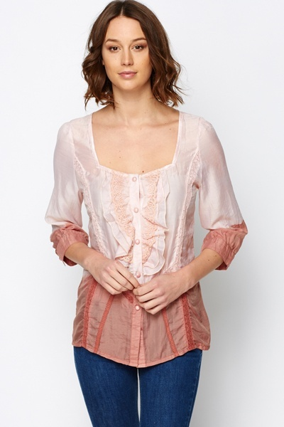 Embroidered Trim Ombre Blouse