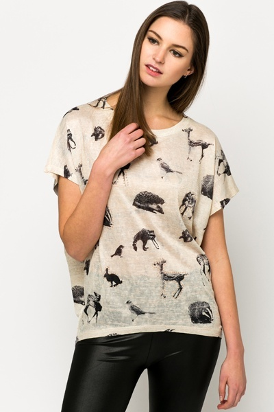Studded Woodland Animal Print Top