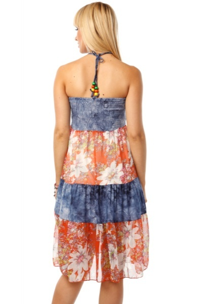 Tie Dyed & Floral Pattern Sundress