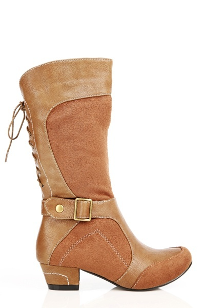 Suedette & Faux Leather Buckle Boots