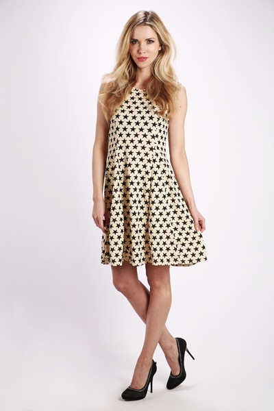Fleeced Star Print Skater Dress