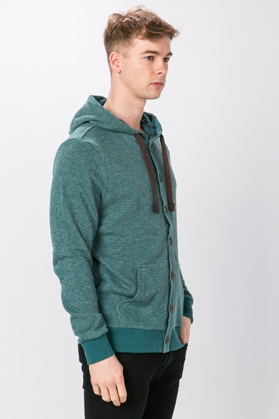 Woven Button Front Hooded Cardigan