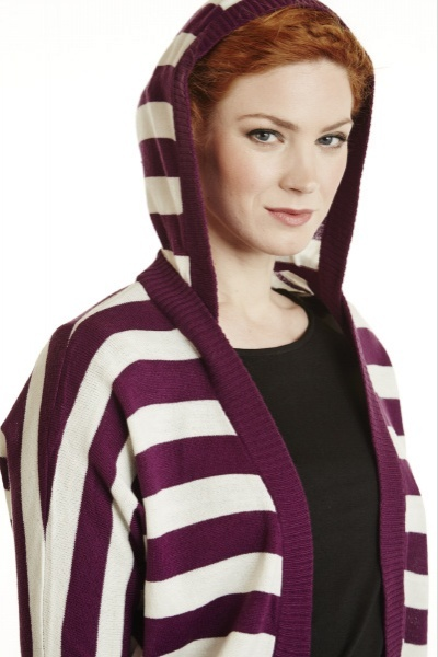 Stripes Knit Hooded Bolero