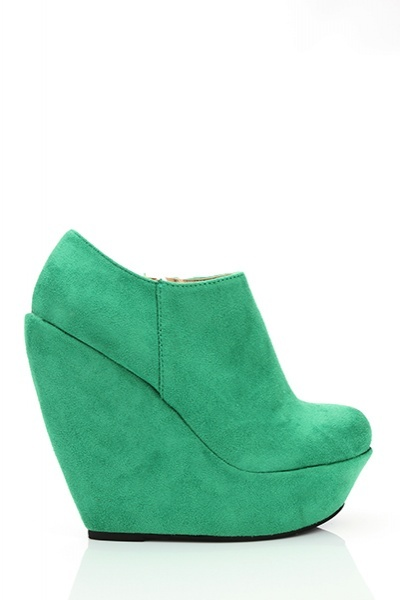 Suedette Wedge Ankle Boots