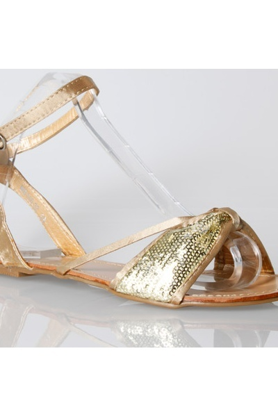 Sequin Bow Ankle Strap Sandals