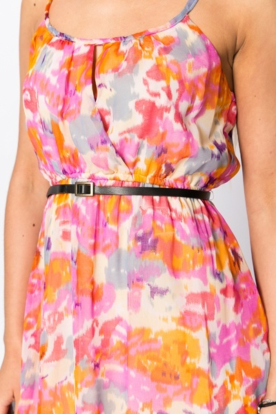 Blurred Print Dipped Hem Dress