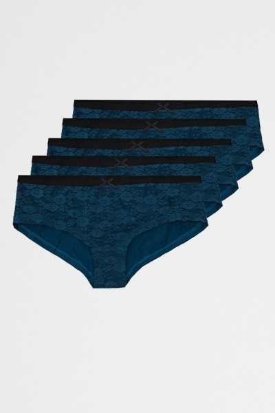 Pack Of 5 Teal Lace Front Briefs