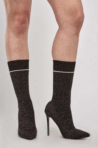 Glittery Heeled Sock Boots