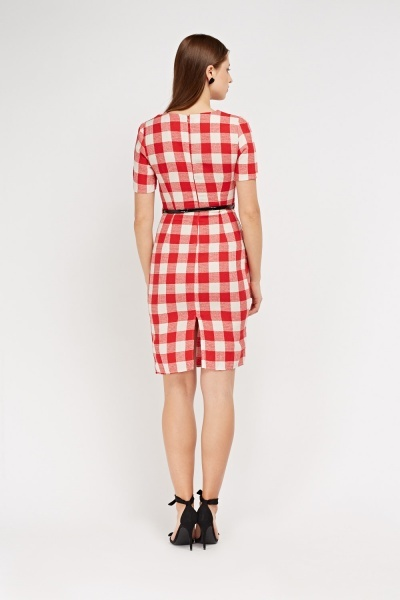 Gingham Midi Pencil Dress