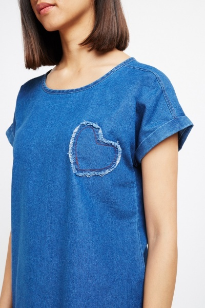 Fringed Hem Denim Top