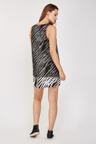 Zebra Print Mesh Overlay Shift Dress