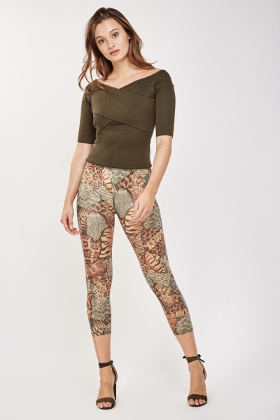 Animal Print Shiny Leggins