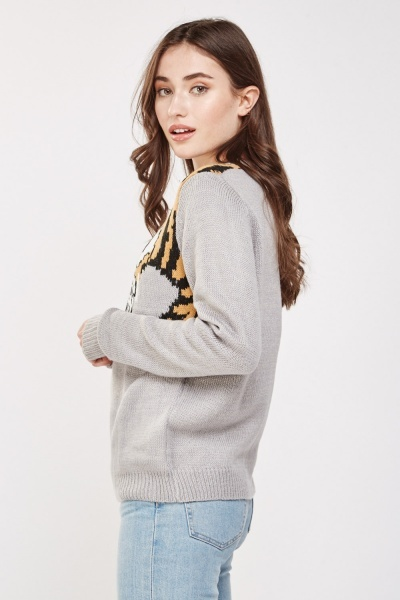 Printed Front Knitted Jumper