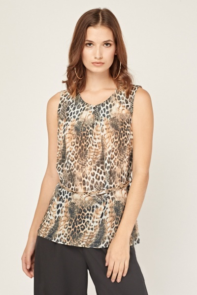 Animal Print Sheer Blouse Brown Multi Just 163 5