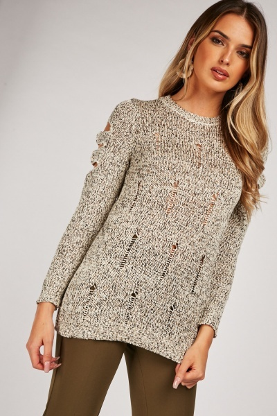 Laddered Speckled Knit Jumper