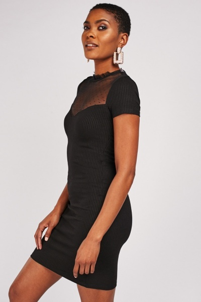 Mesh Sweetheart Insert Ribbed Dress