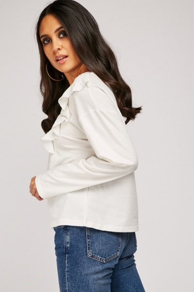 Ruffle Overlay Long Sleeve Top