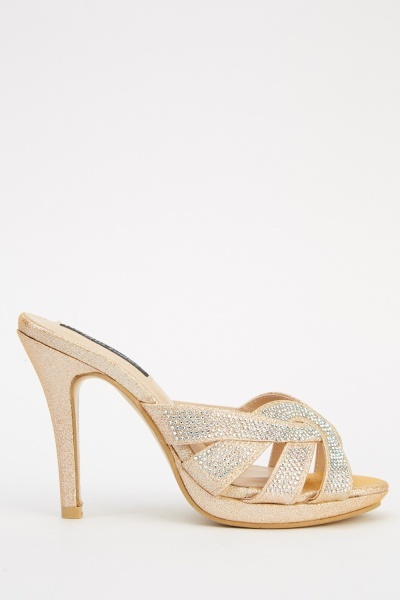 Encrusted Contrast Heeled Sandals