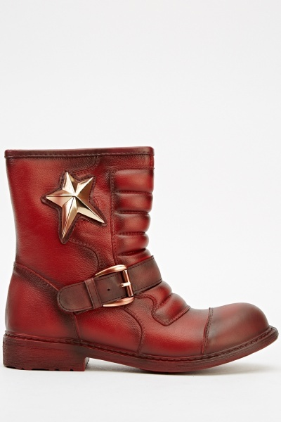 Quilted Star Biker Boots
