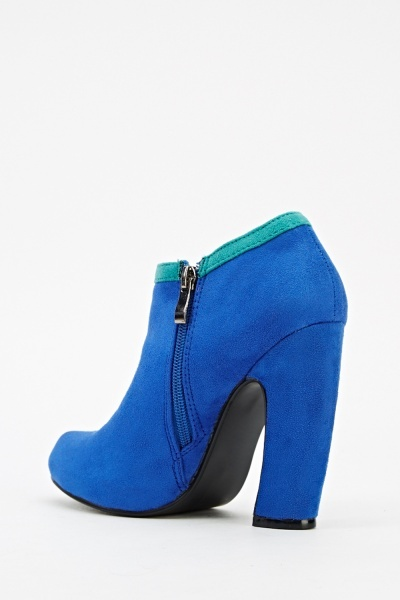 Curved Heel Suedette Ankle Boots