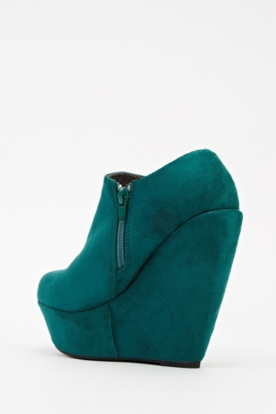 High Wedge Suedette Ankle Boots