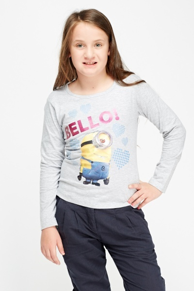 Image of Grey Minion Print Long Sleeve Top