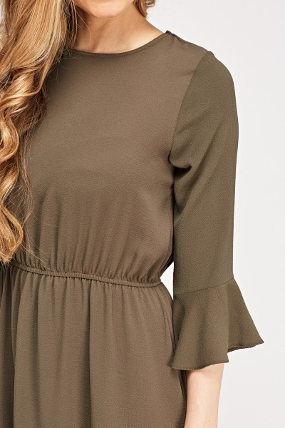 Olive Elasticated Shift Dress