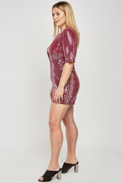 Sequinned Low Plunge Wrap Playsuit