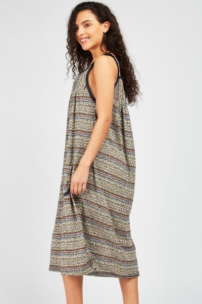 Striped Animal Print Tent Nightie