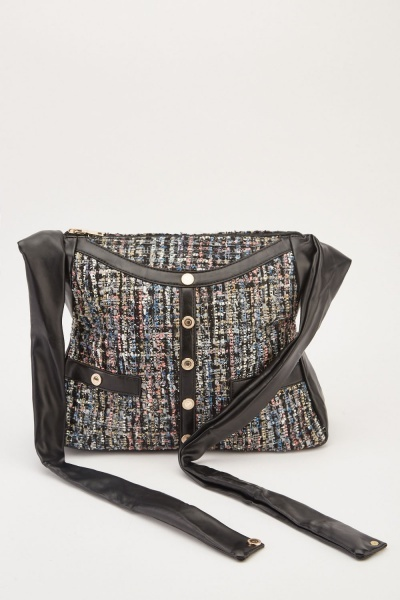 Popper Contrasted Tweed Bag