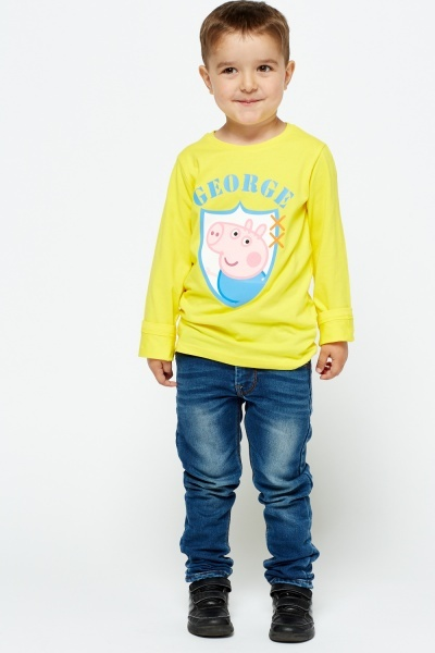 George Pig Print Long Sleeve Top